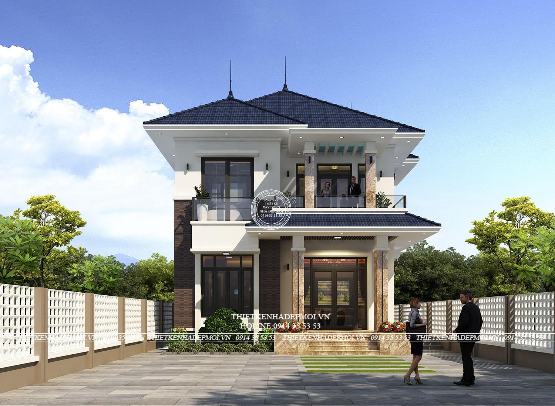 Mẫu thiết kế biệt thự 2 tầng mái Nhật đơn giản và hiện đại của Chị Xuyến