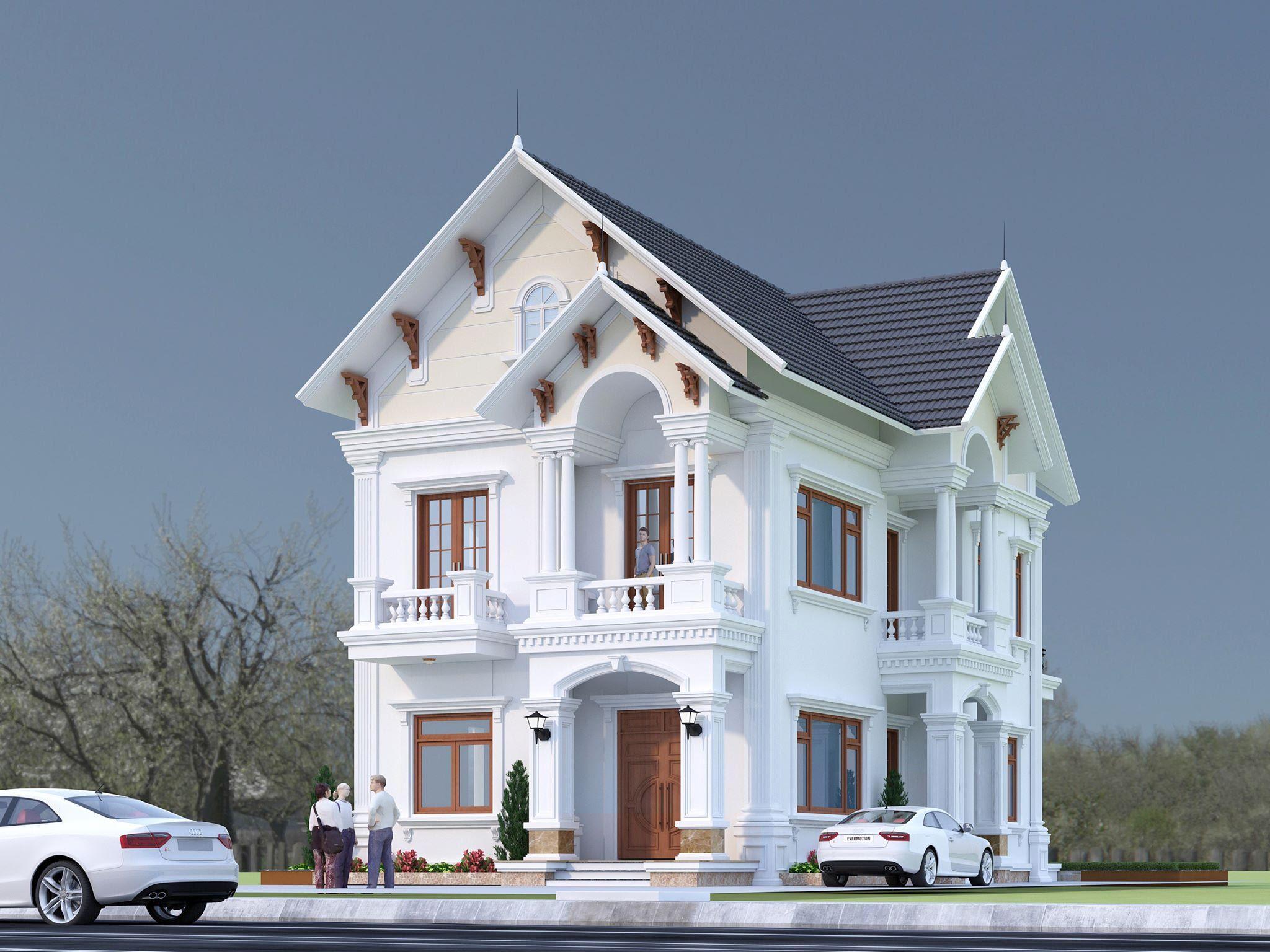 Thiết kế biết thự 2 tầng mái thái