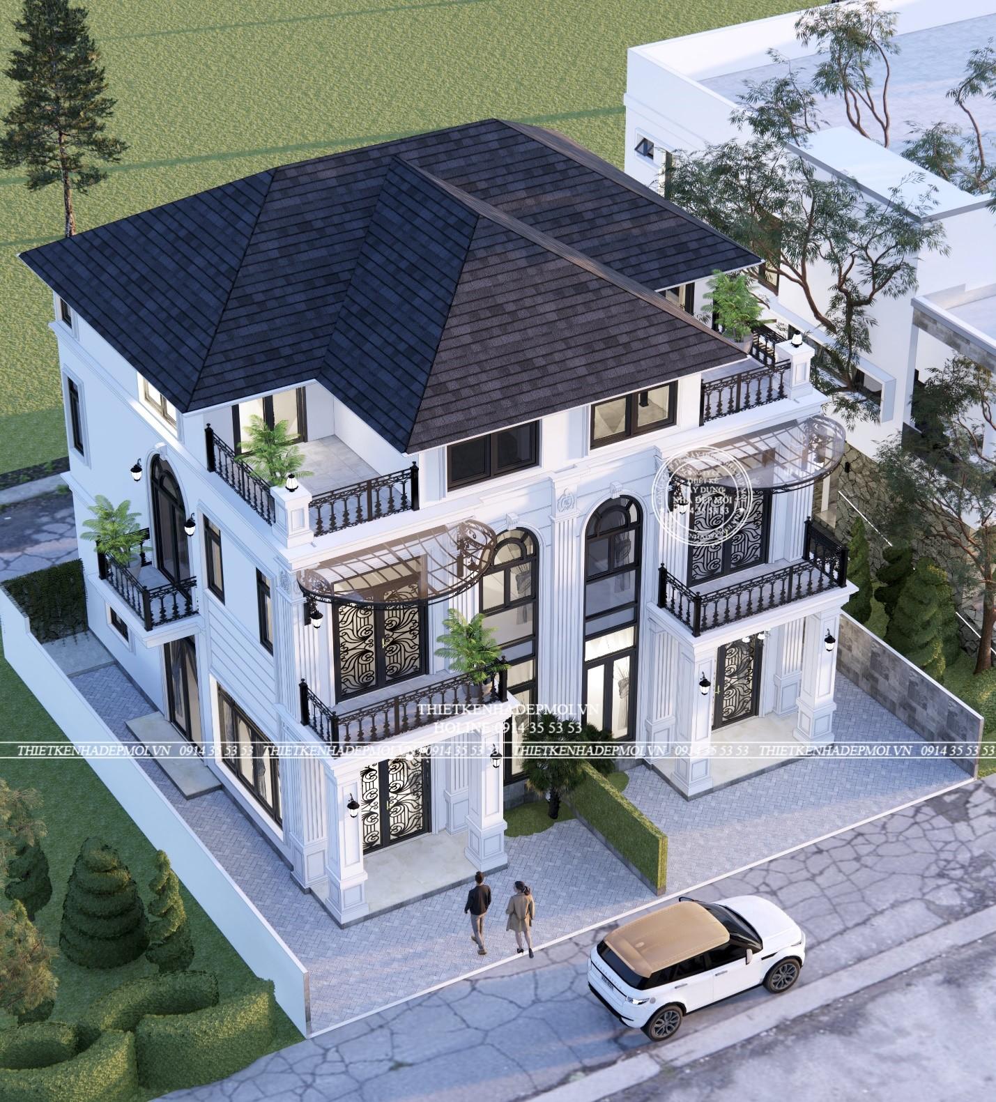 Căn biệt thự được điểm tô bởi tông màu chủ đạo là màu trắng kết hợp mái ngói màu xanh