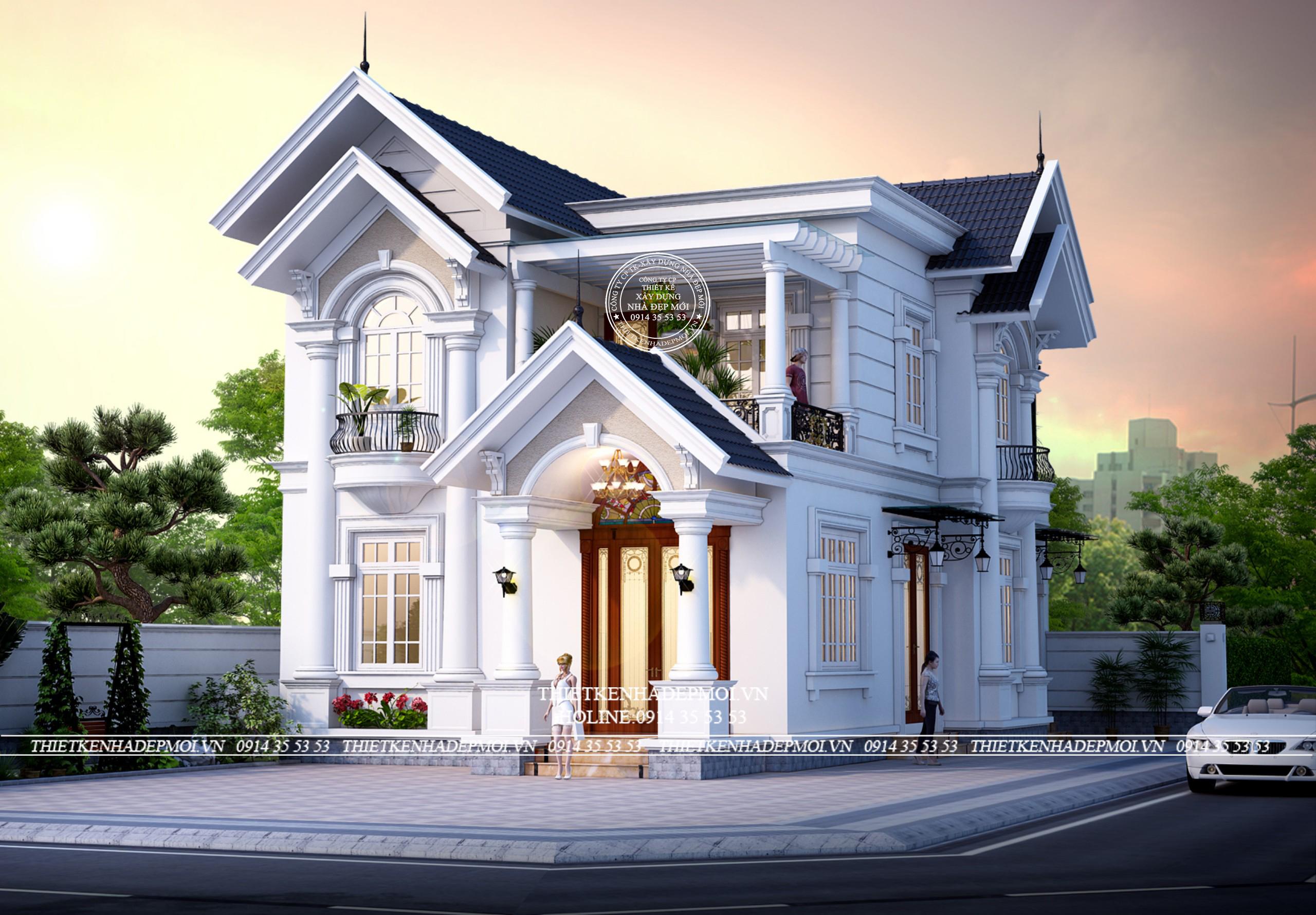 Phối cảnh của thiết kế biệt thự mái thái 2 tầng