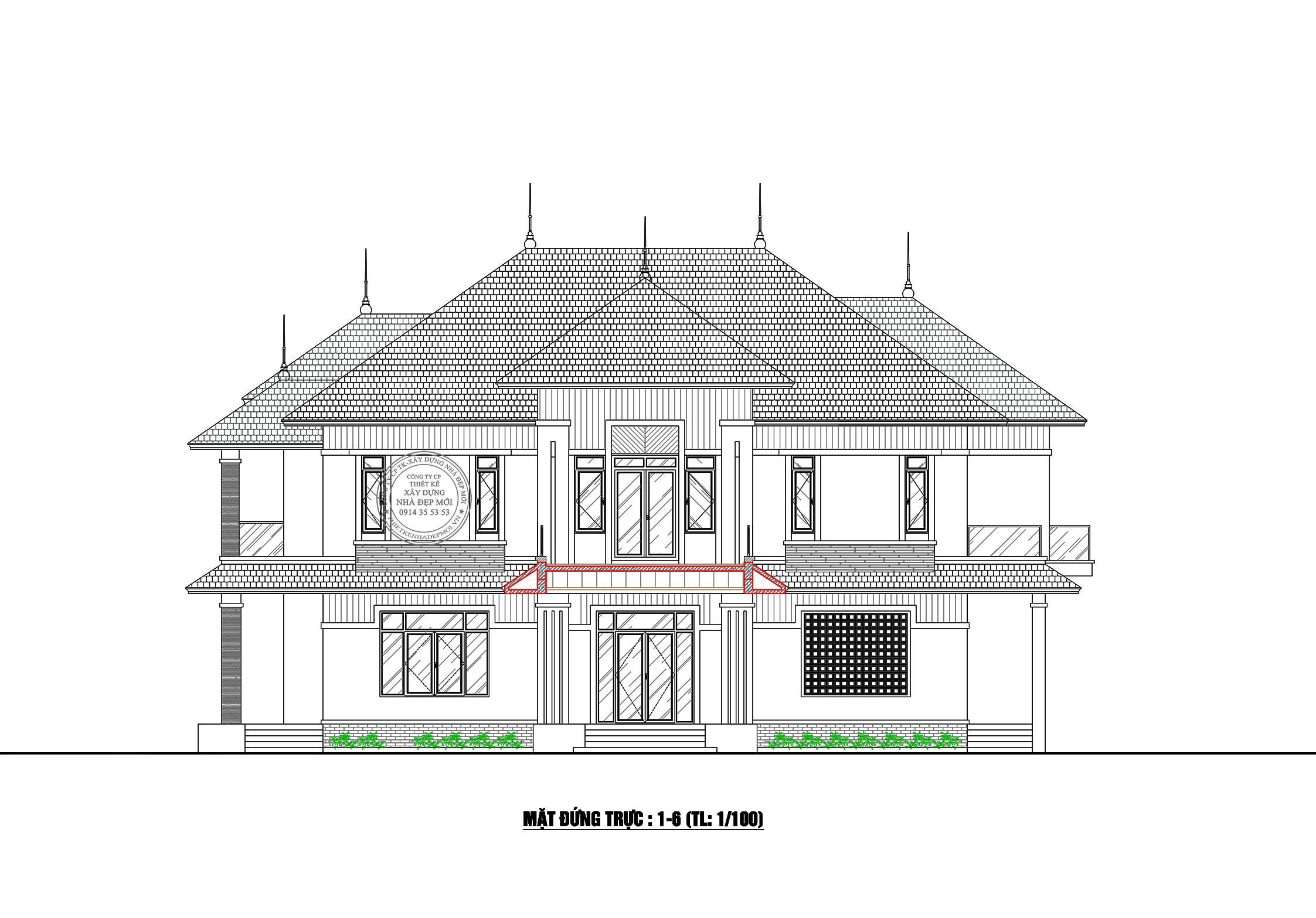 Bảng vẽ mặt đứng của mẫu biệt thự