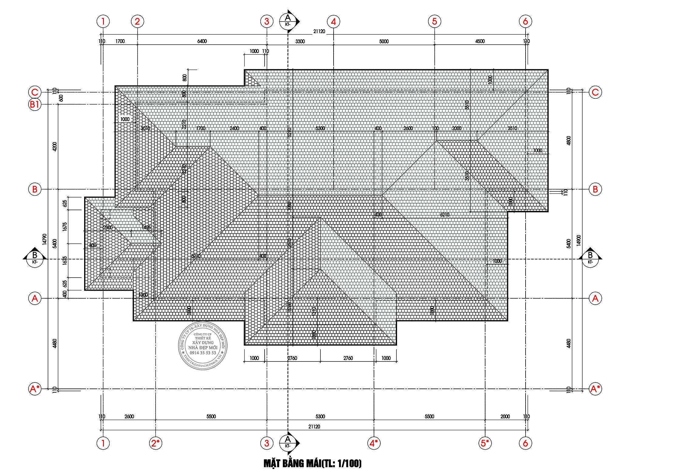 Bảng vẽ mặt bằng mái của mẫu biệt thự
