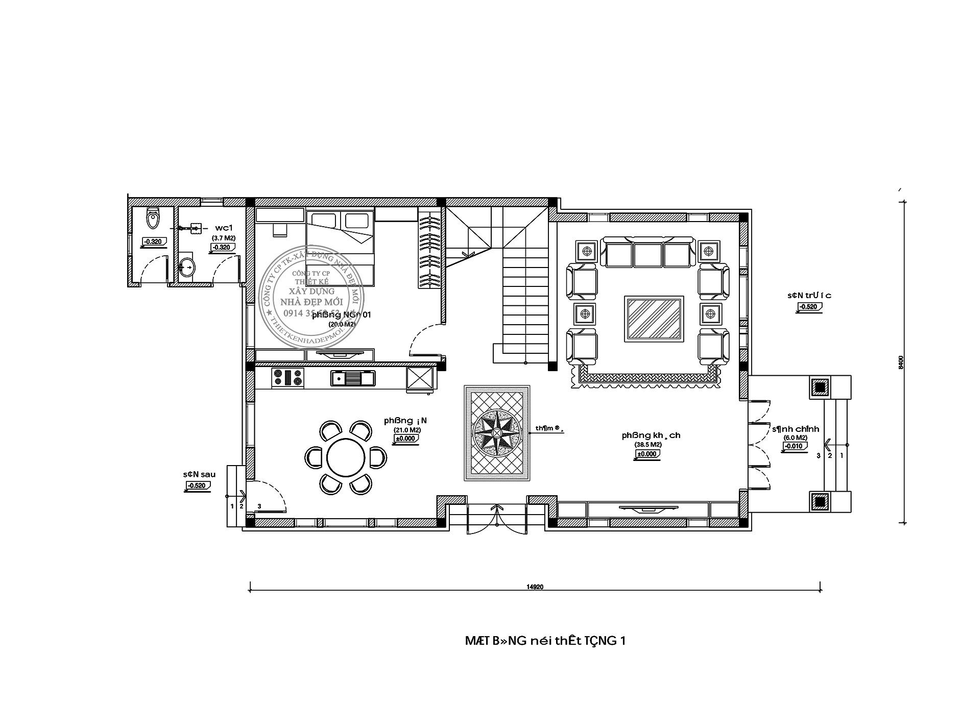 Mặt bằng nội thất tầng 1