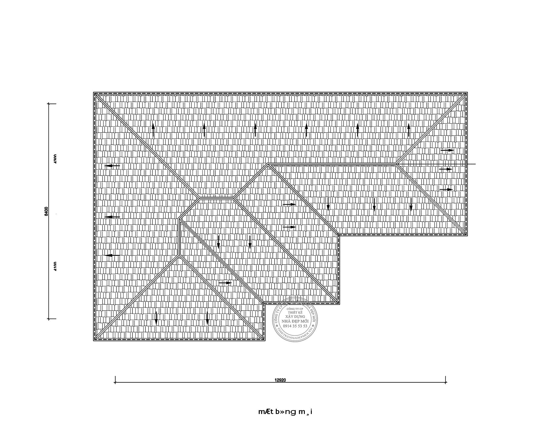 Bản vẽ mặt bằng mái của thiết kế biệt thự 2 tầng của Bác Hiền