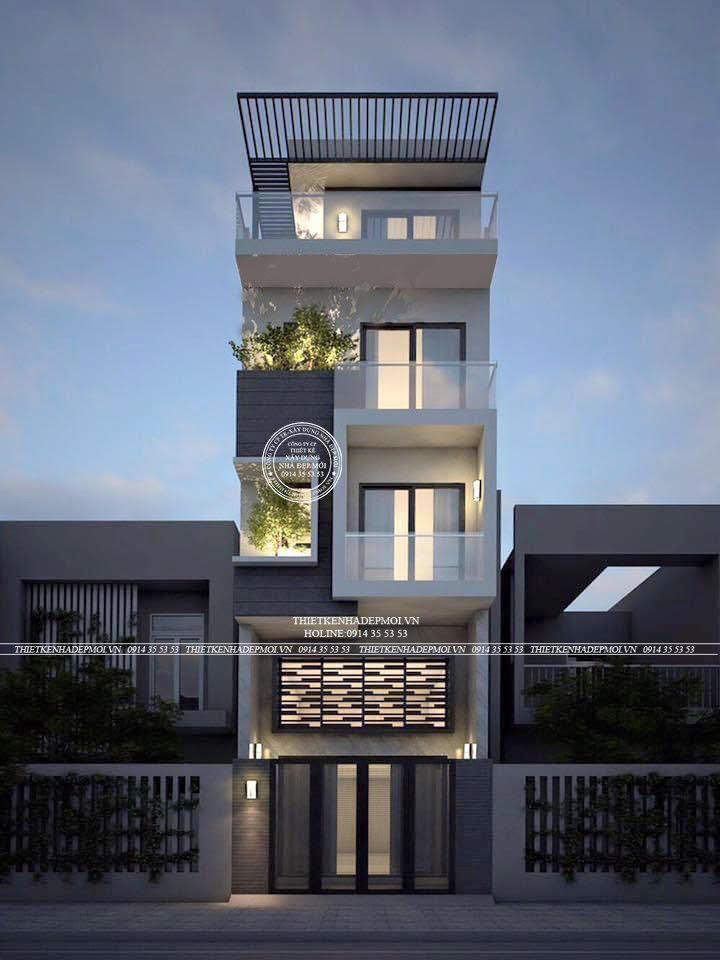 Kiểu nhà hiện đai 1 trệt 1 lửng 2 lầu sân thượng