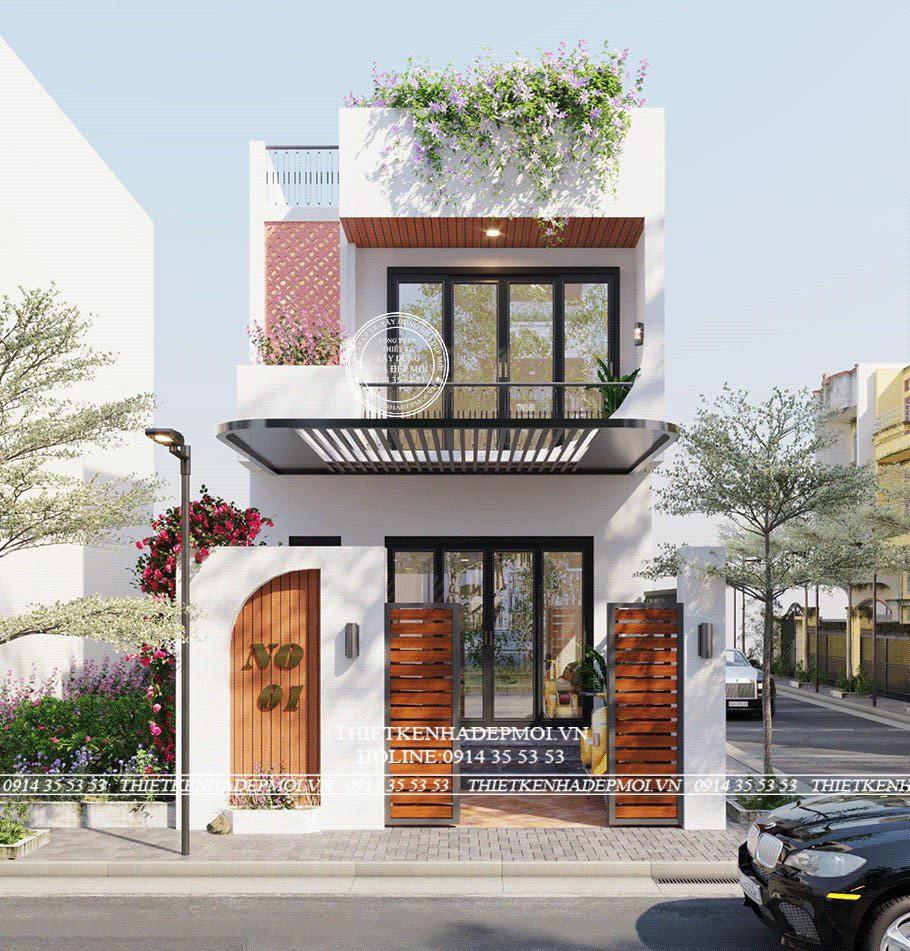 Thiết kế nhà đẹp 1 trệt 1 lầu (5-15)m