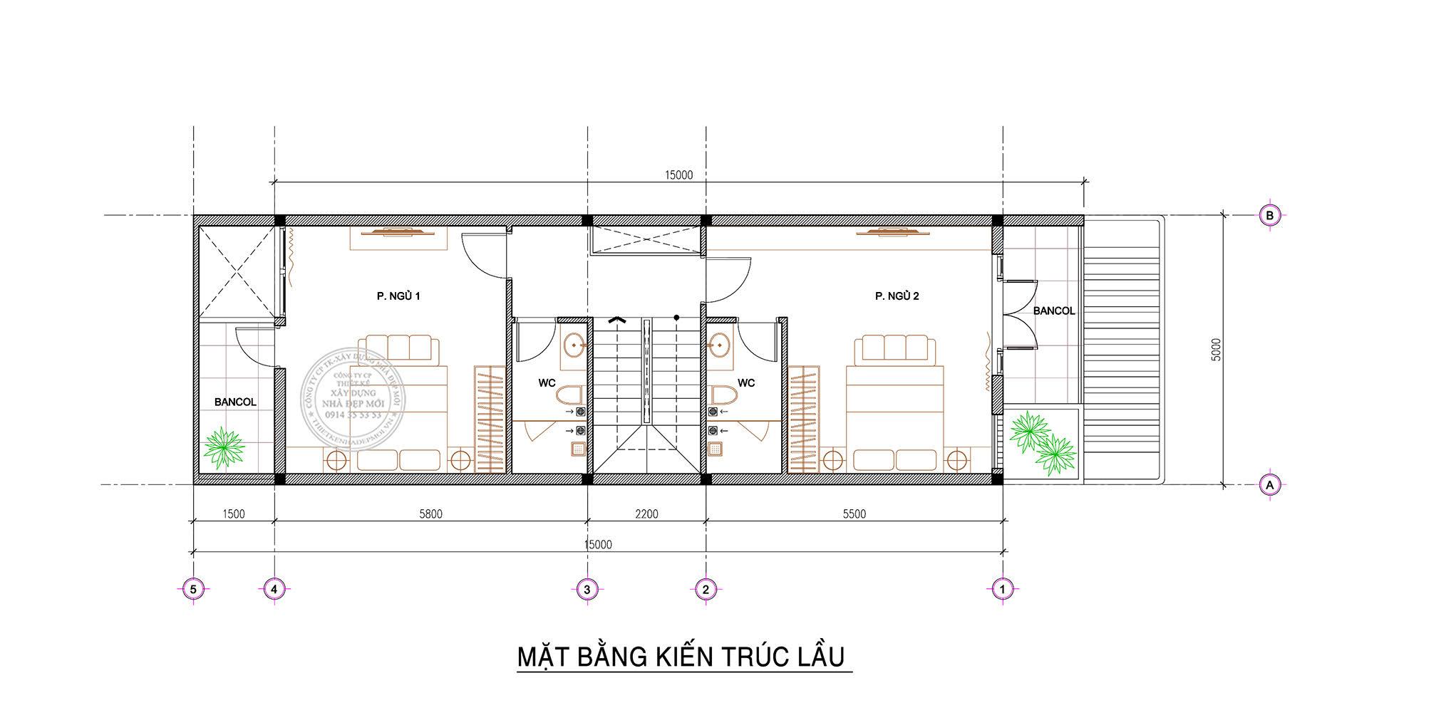 Mẫu nhà 2 tầng ngang (4-15)m