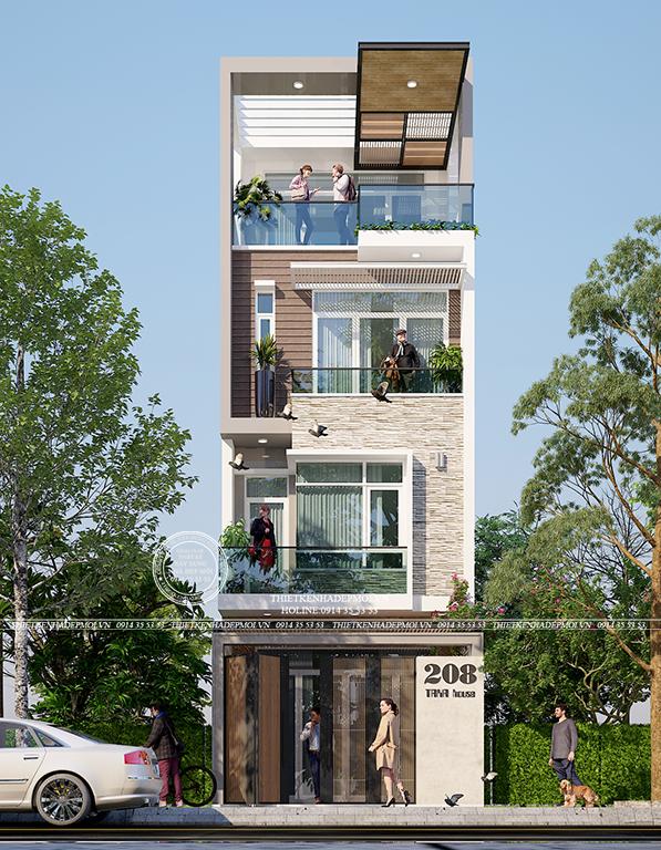 Phối cảnh của thiết kế nhà đẹp 3 tầng