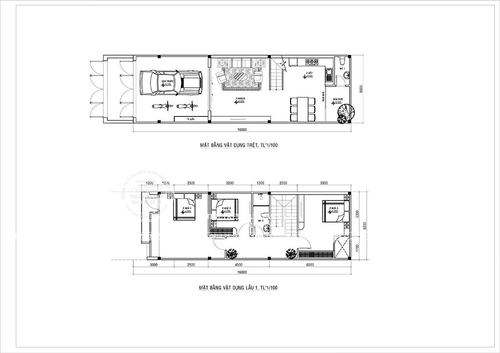 Bảng vẽ mặt bằng trệt và lầu 1 của mẫu nhà phố hiện đại 3 tầng