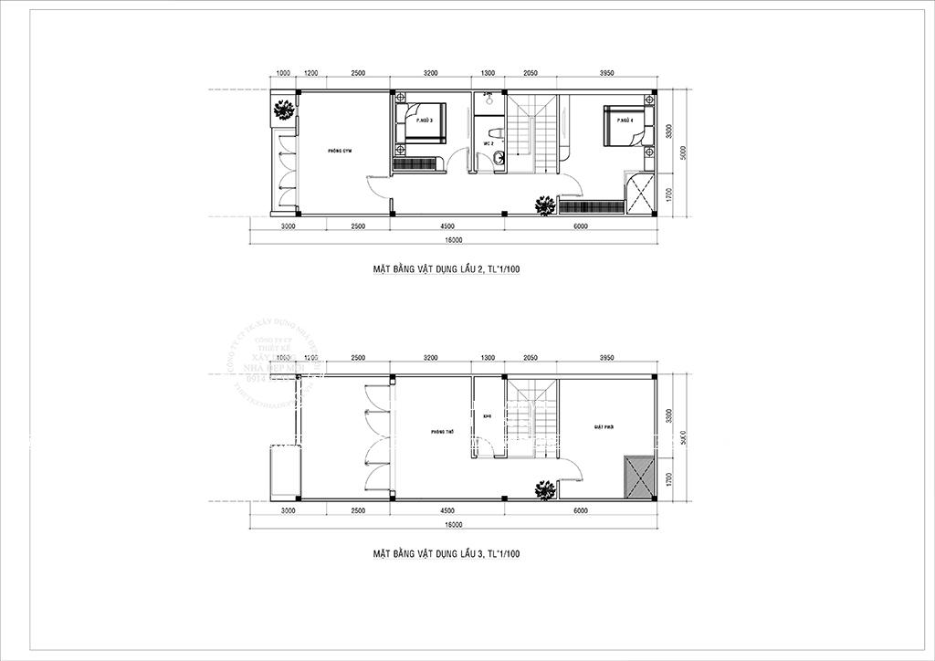 Bảng vẽ mặt bằng mẫu nhà phố hiện đại 3 tầng lầu 2 và lầu 3