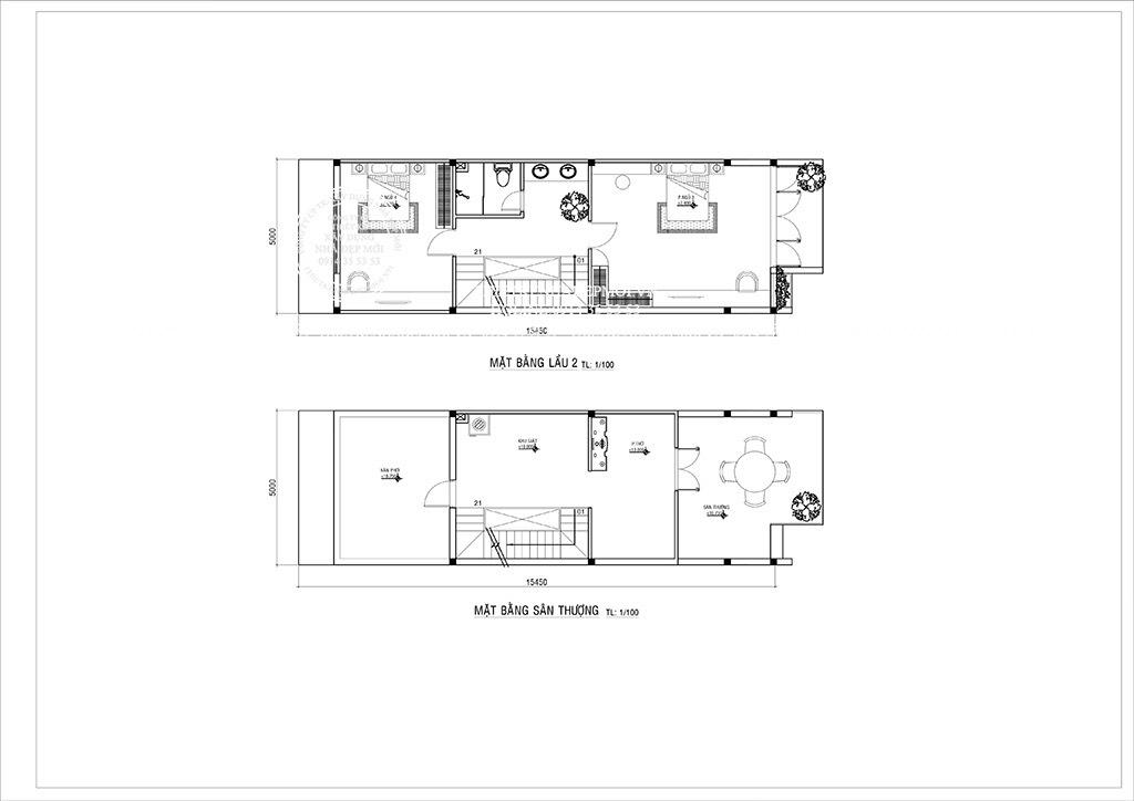 Bảng vẽ mặt bằng lầu 2 và sân thượng
