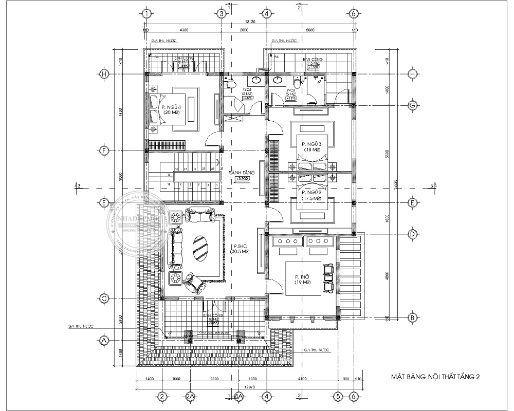 Bảng vẽ mặt bằng tầng 2