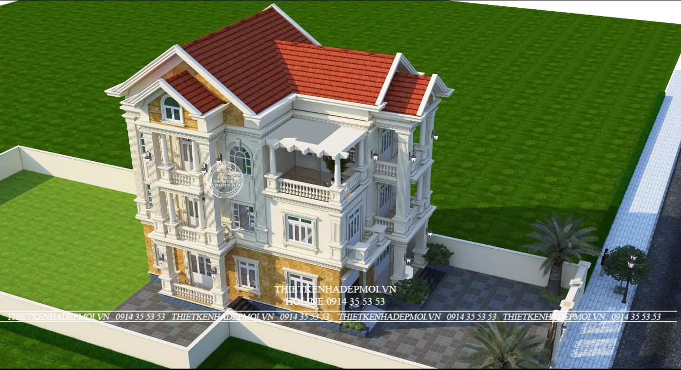 Thiết kế biệt thự tân cổ điển 3 tầng của Chú Hoàng
