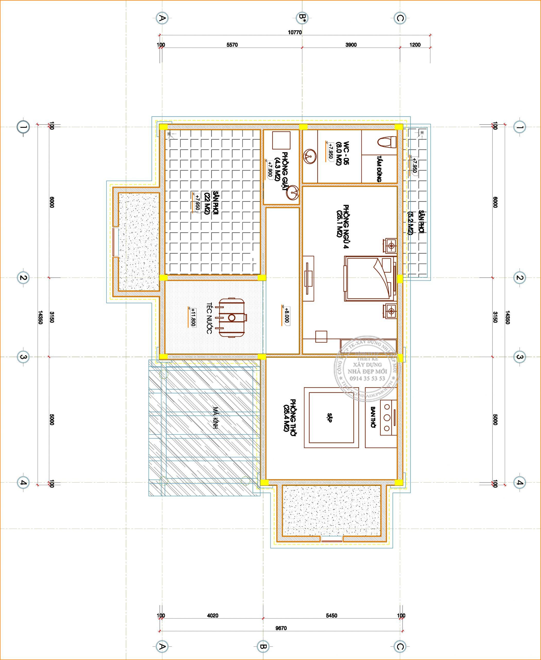 Bảng vẽ mặt bằng tầng 3-1