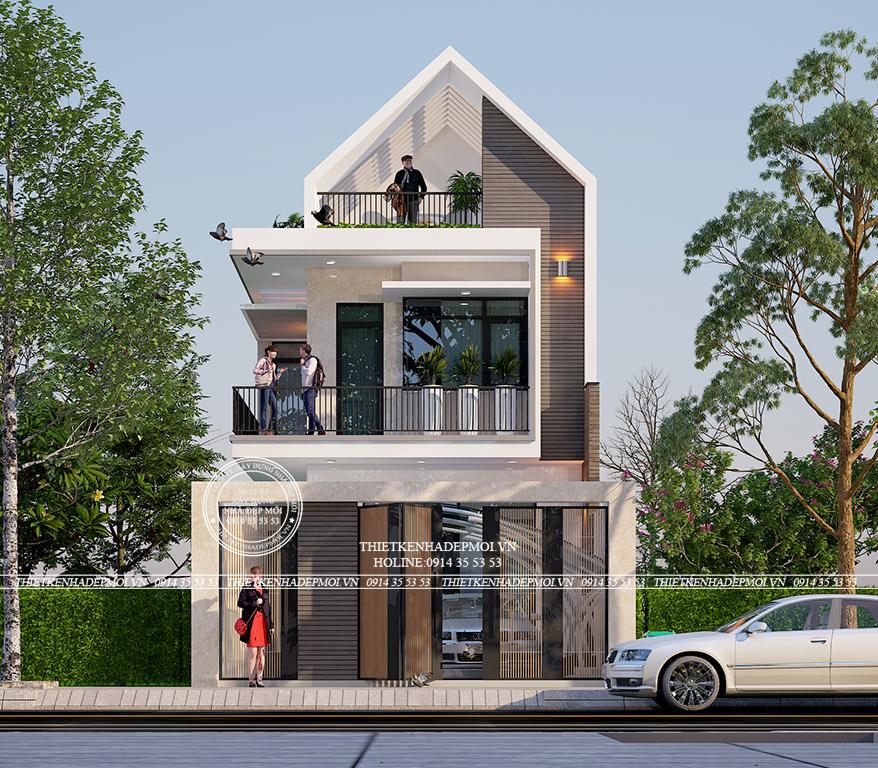 Phối cảnh năng động, hiện đại của mẫu nhà phố hiện đại