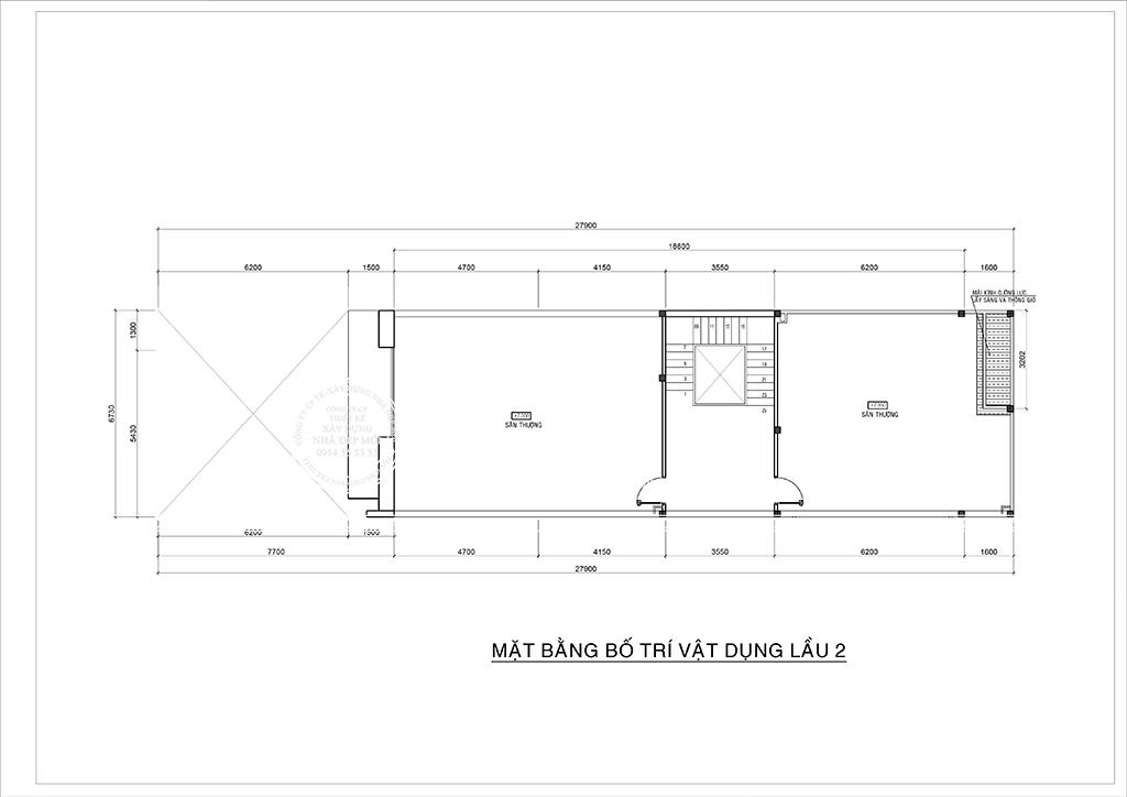 Bảng vẽ mặt bằng lầu 2