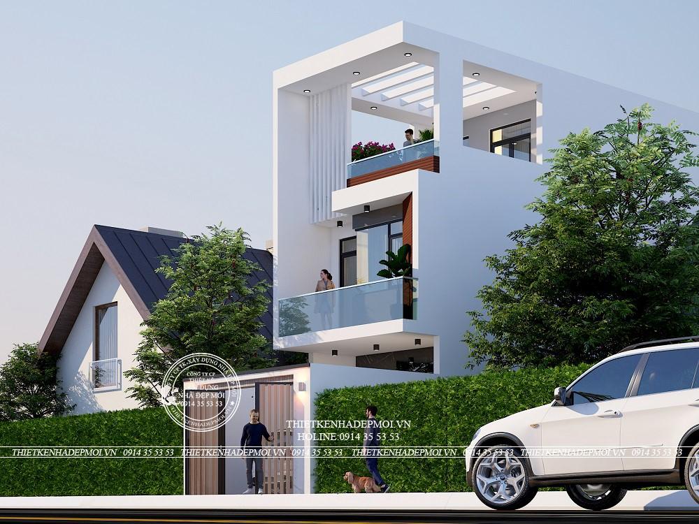 Cửa chính của ngôi nhà được làm bằng nhôm xingfa đen trông rất chắc chắn và mang lại thẩm mỹ cho ngôi nhà